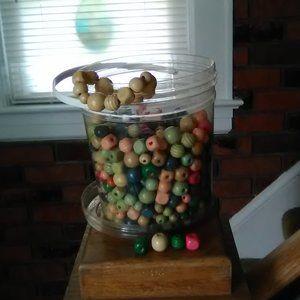 Bucket of Wood Beads